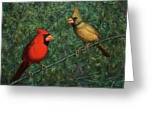 Cardinal Couple Greeting Card by James W Johnson