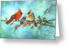 Cardinal Family Three Kids Greeting Card