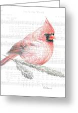 Cardinal On Joy To The World Greeting Card
