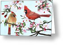 Cardinals And Apple Blossoms Greeting Card