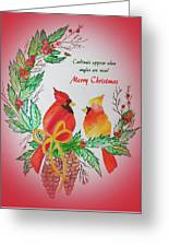 Cardinals Painted By Pat Napper  Greeting Card