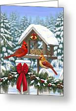 Cardinals Christmas Feast Greeting Card by Crista Forest