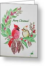 Cardinals Painted By Debbie Woodrow Greeting Card