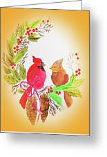 Cardinals Painted By Linda Sue Greeting Card