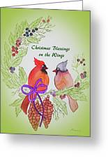 Cardinals Painted By Marcie Taylor  Greeting Card