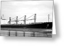 Cargo Ship On River Greeting Card