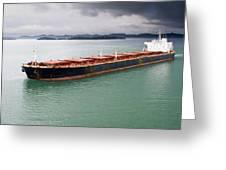 Cargo Ship Under Stormy Sky Greeting Card