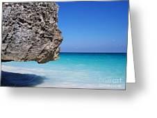 Caribbean Beach Rock Tulum Mexico Greeting Card