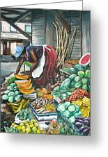 Caribbean Market Day Greeting Card by Karin  Dawn Kelshall- Best