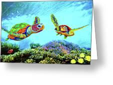 Caribbean Sea Turtle And Reef Fish Greeting Card