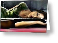 Carla Bruni With Guitar Greeting Card