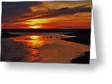 Carmel Colored Sunset In Kansas.  Greeting Card