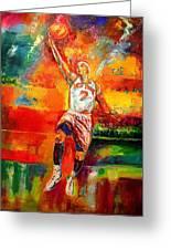 Carmelo Anthony New York Knicks Greeting Card by Leland Castro