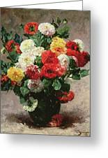 Carnations In A Vase Greeting Card