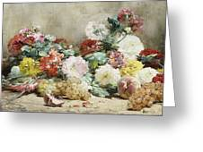 Carnations, Roses, Grapes And Peaches Greeting Card
