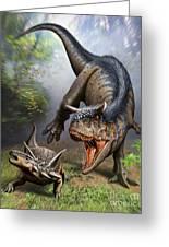 Carnotaurus Attacking An Antarctopelta Greeting Card