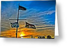Carolina Beach Lake Flag Pole V2 Greeting Card