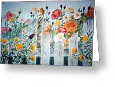 Carolina Wren And Roses Greeting Card
