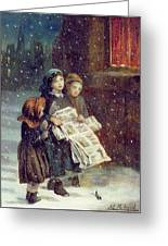 Carols For Sale  Greeting Card by Augustus Edward Mulready
