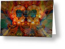 Carousel Faces, Twins Greeting Card
