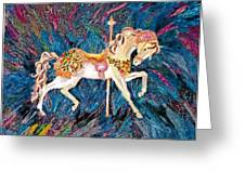 Carousel Horse With Dark Background Greeting Card
