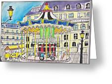 Carousel Paris Illustration Hand Drawn Greeting Card