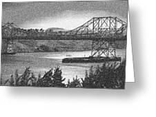 Carquinez Bridge Pointilized B And W Greeting Card
