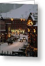 Carriage And Slded On Snowy Steets Greeting Card by Paul Chesley