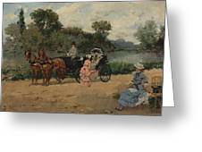 Carriage Ride By The River Greeting Card