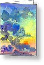 Carribean Rain At Sunset Greeting Card