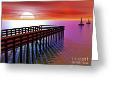 Carribean Sunset Pier Greeting Card