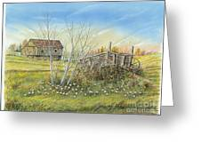 Cart And Barn On A Spring Day Greeting Card