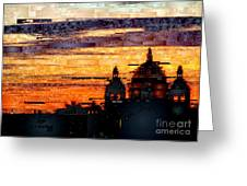 Cartagena Colombia Night Skyline Greeting Card