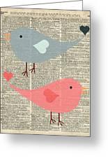Cartoon Birds In Love  Greeting Card