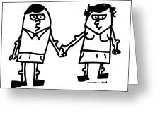 Cartoon Couple Greeting Card