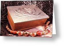 Carved Box In Aluminum. Silver Box And Red Necklace Greeting Card