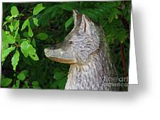 Carved Dogs Head Greeting Card