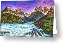 Cascades In Patagonia Painting Greeting Card