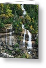 Cascading Skagway Waterfall  Greeting Card