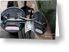Cash In Truck Fuel Tank Fill Spout Greeting Card