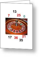 Casino Roulette Wheel Lucky Numbers Greeting Card