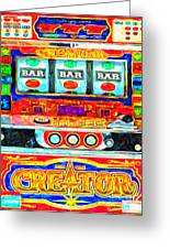Casino Slot Machine . One Arm Bandit . Triple Bar Bonus Jack Pot Greeting Card by Wingsdomain Art and Photography