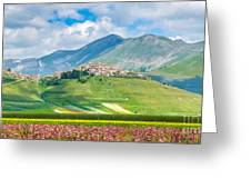 Castelluccio Di Norcia With Beautiful Summer Fields Greeting Card