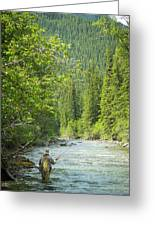 Casting To Cutthroats On The Oldman River Greeting Card