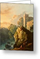 Castle And Waterfall Greeting Card
