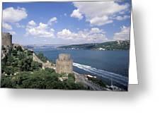 Castle At Rumelihisan Along Side Greeting Card