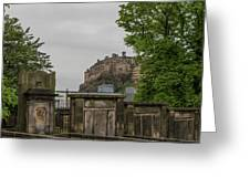 Castle Behind Cemetery Greeting Card