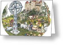 Castle Cross Circle Greeting Card