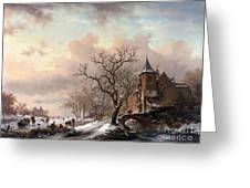 Castle In A Winter Landscape And Skaters On A Fozen River Greeting Card