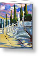 Castle Patio 1 Greeting Card by Milagros Palmieri